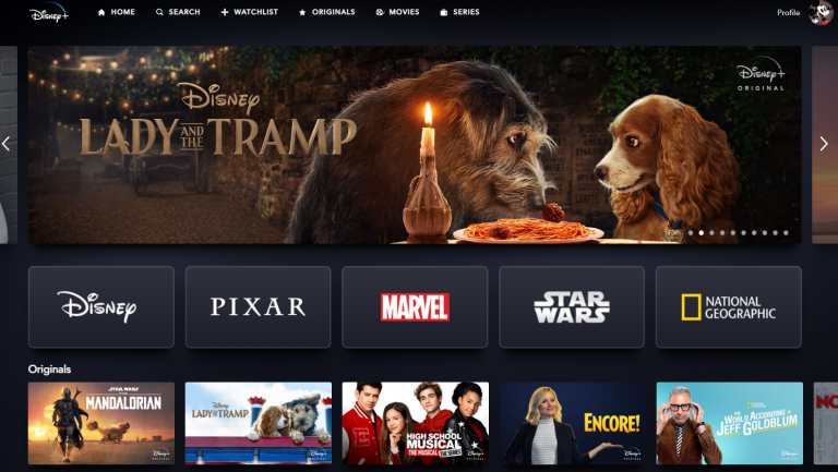 disney+ user interface